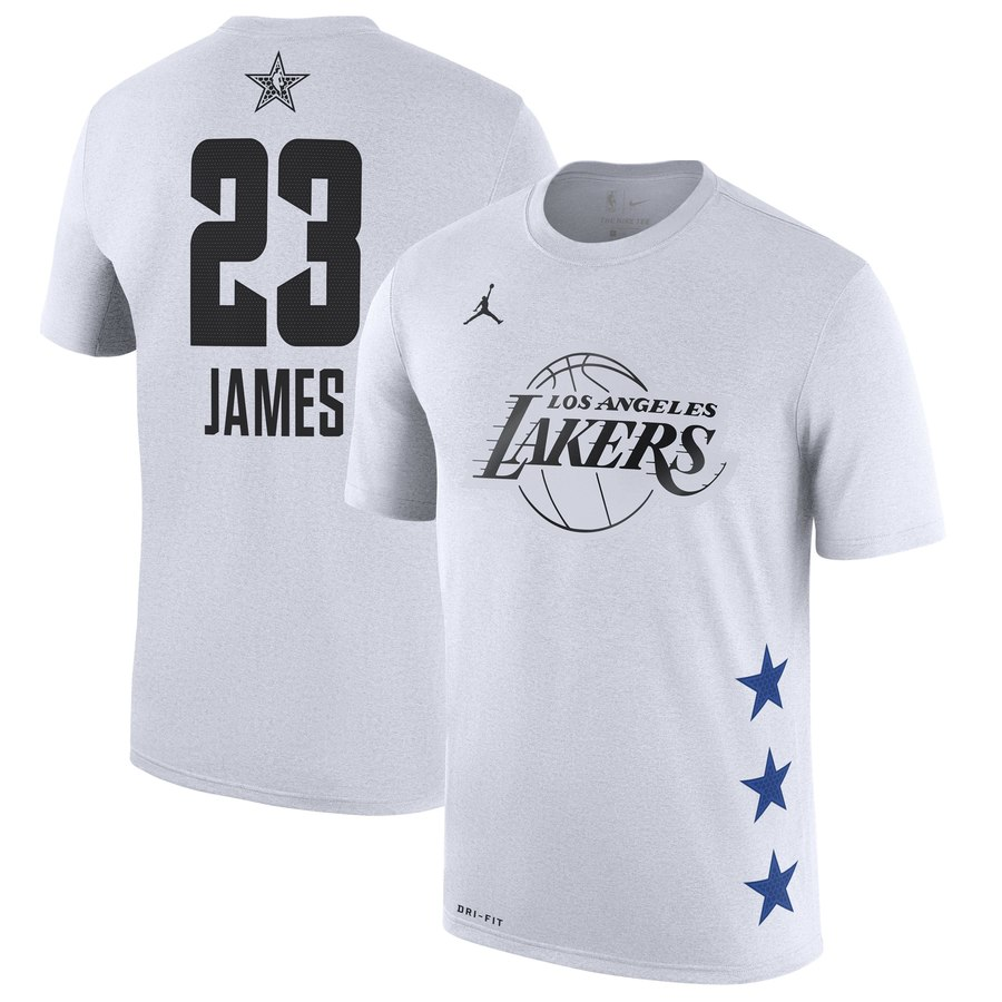 Lakers 23 Lebron James White 2019 NBA All-Star Game Men's T-Shirt