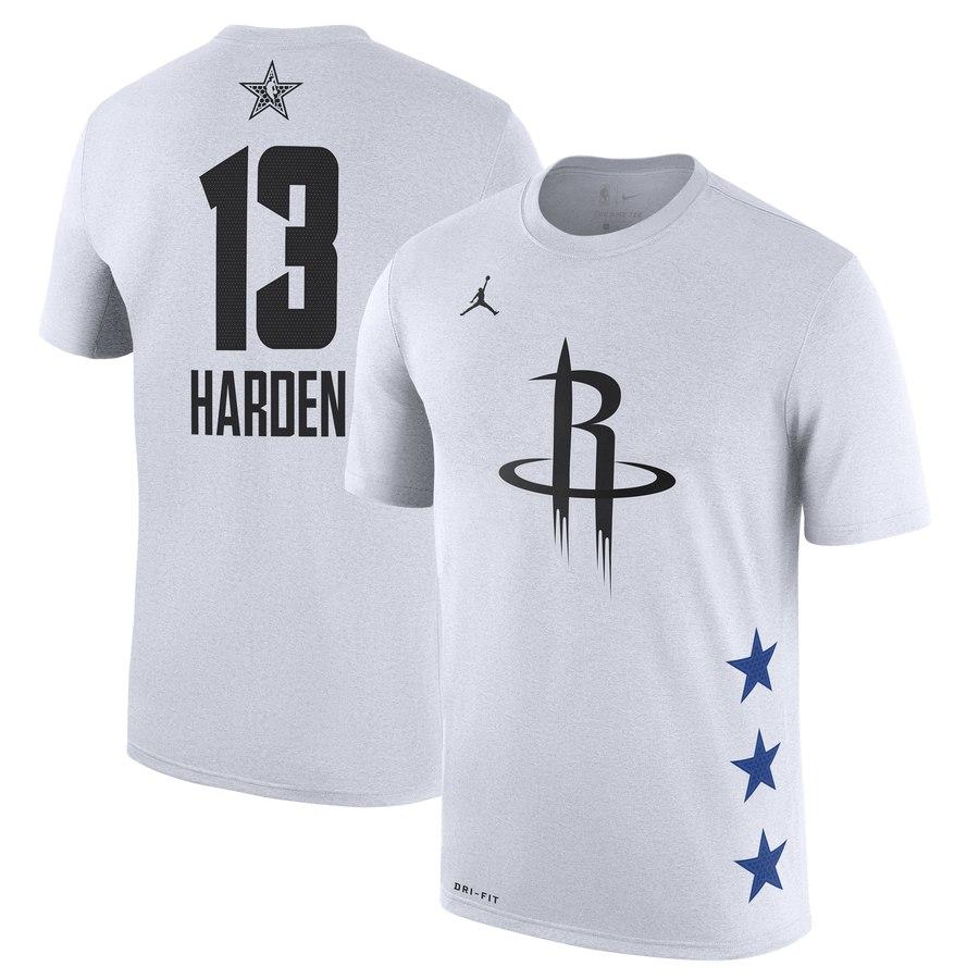 Rockets 13 James Harden White 2019 NBA All-Star Game Men's T-Shirt