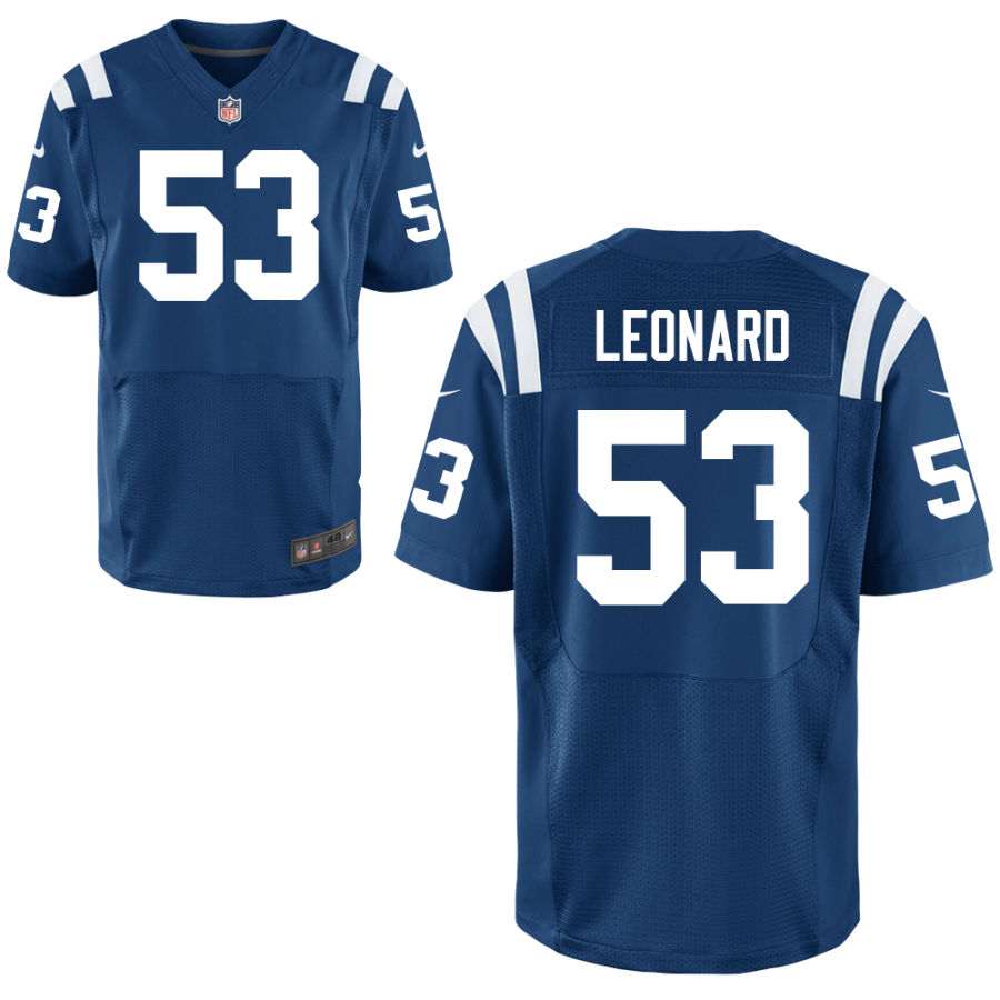 Nike Colts 53 Darius Leonard Blue Elite Jersey