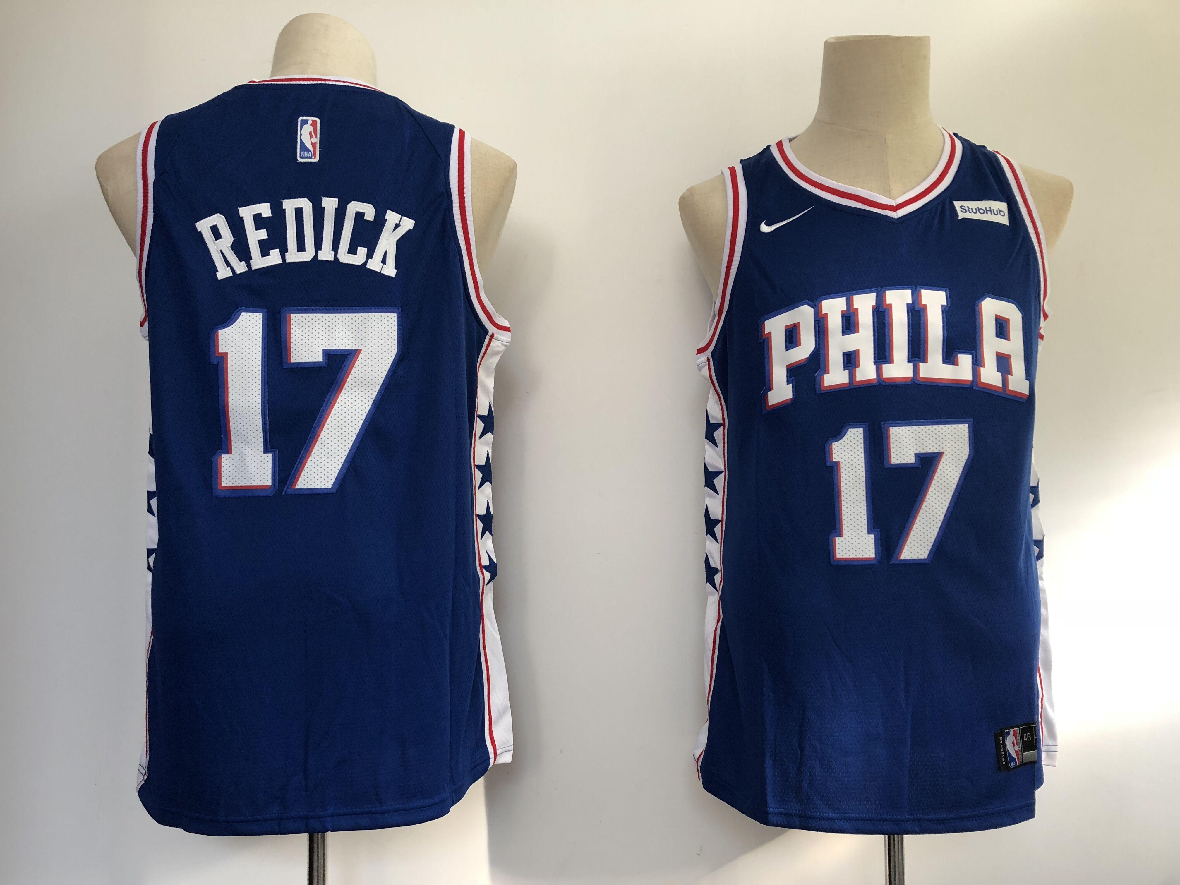 76ers 17 JJ Redick Blue Nike Swingman Jersey