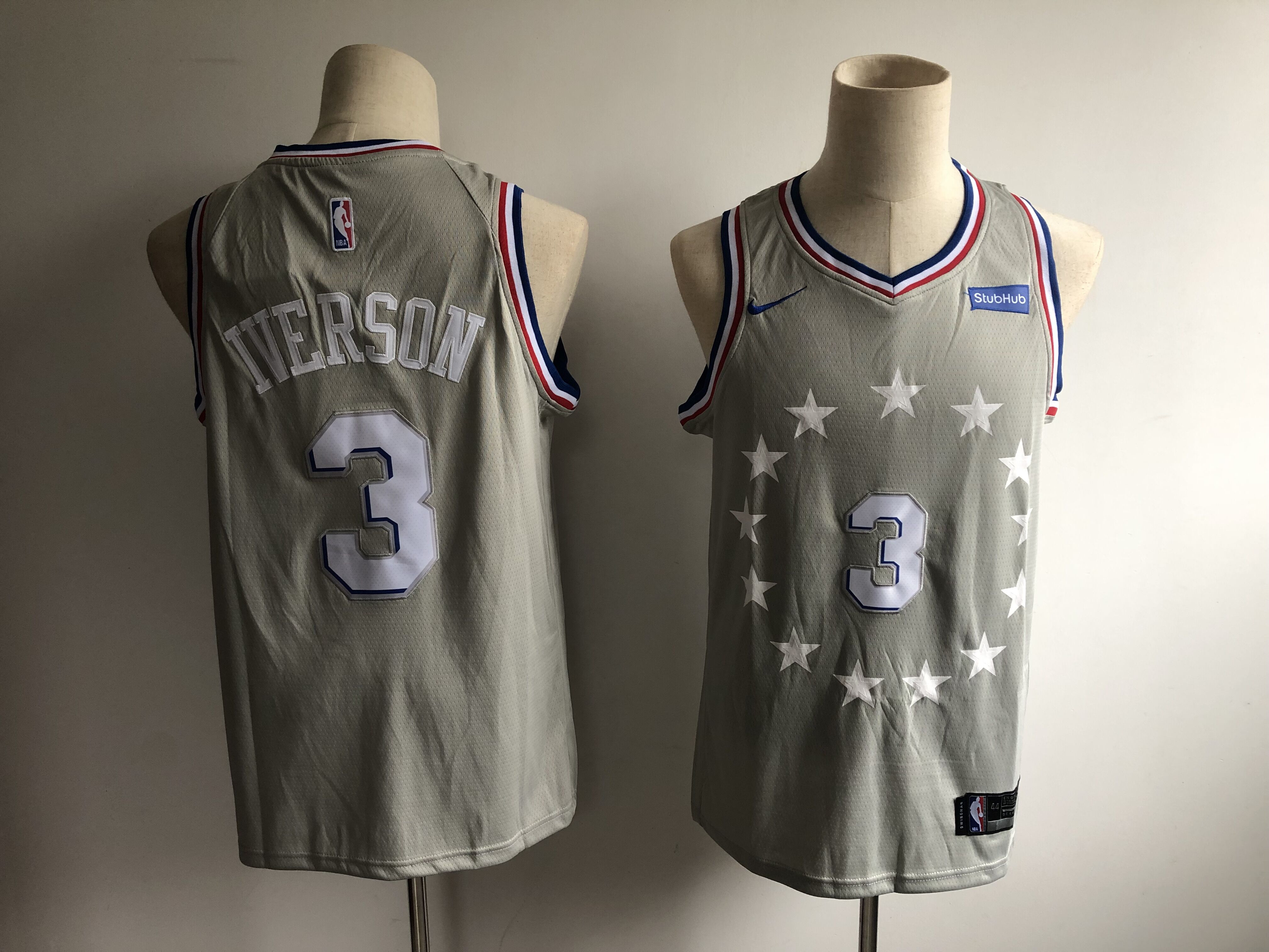 76ers 3 Allen Iverson Gray 2018-19 City Edition Nike Swingman Jersey