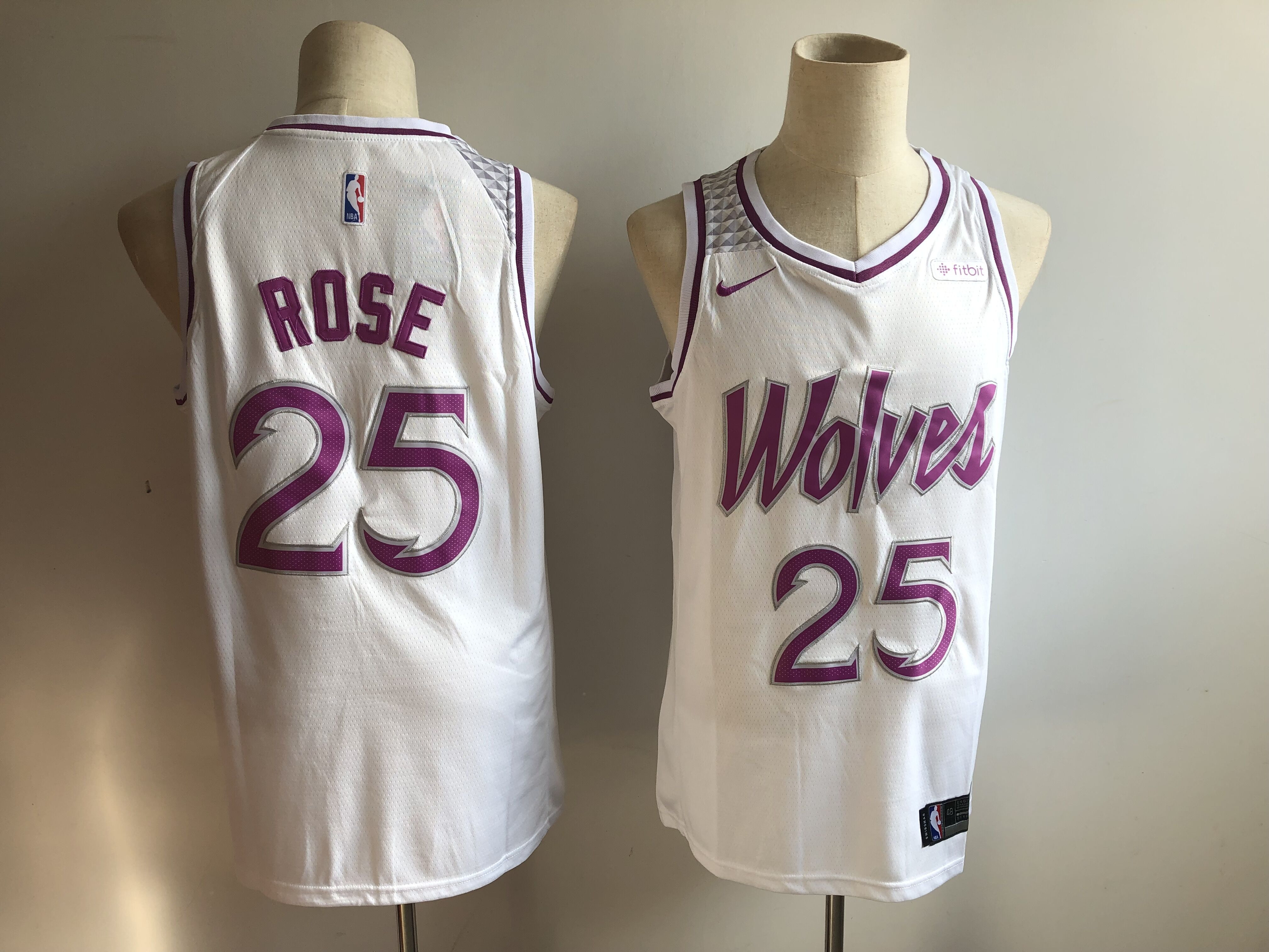 Timberwolves 25 Derrick Rose White 2018-19 Earned Edition Nike Swingman Jersey