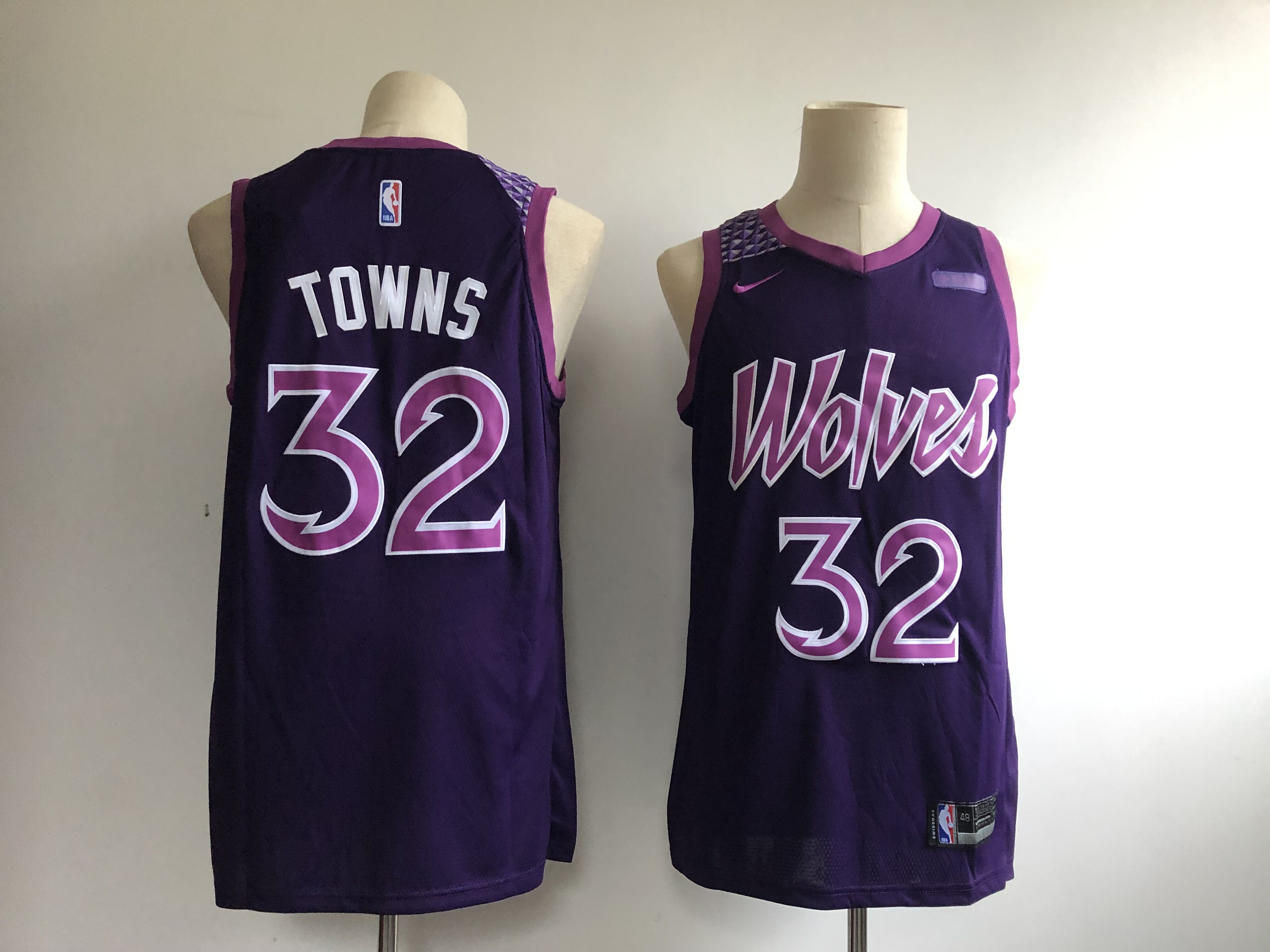 Timberwolves 32 Karl-Anthony Towns Purple 2018-19 City Edition Nike Swingman Jersey