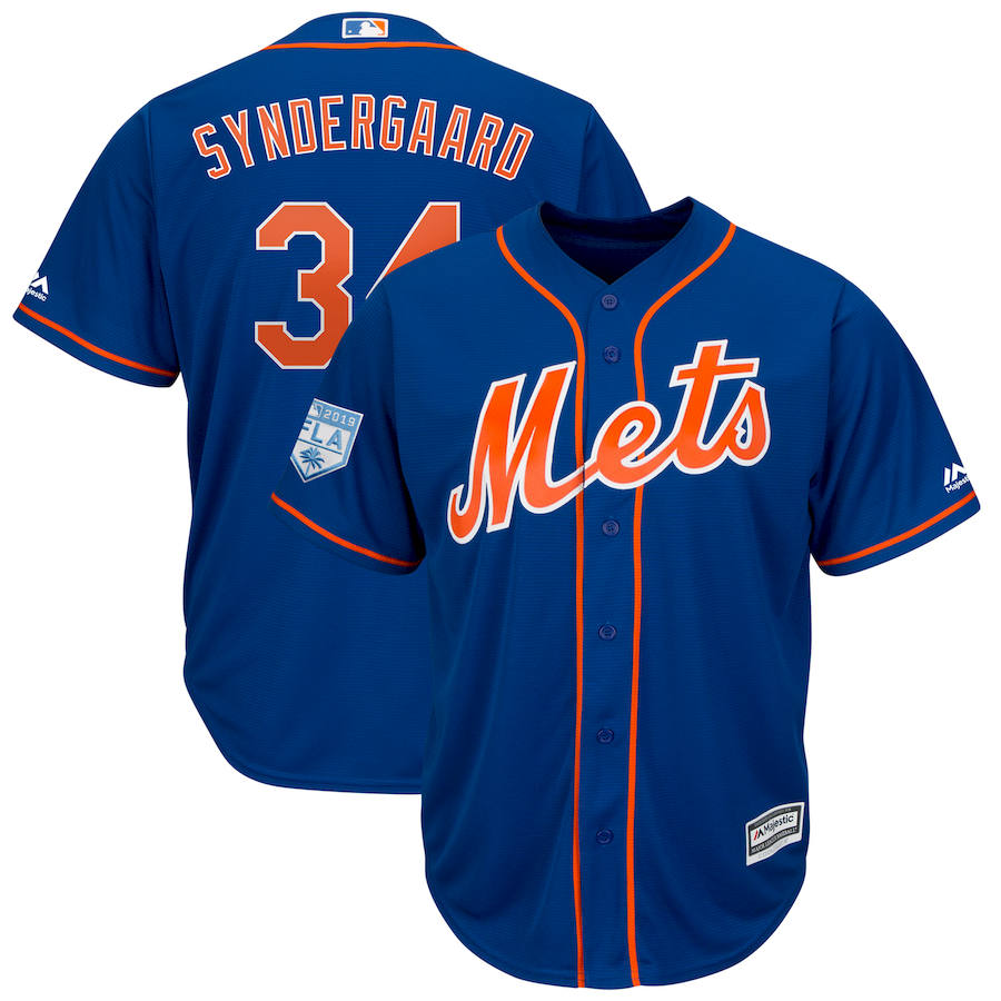 Mets 34 Noah Syndergaard Royal 2019 Spring Training Cool Base Jersey