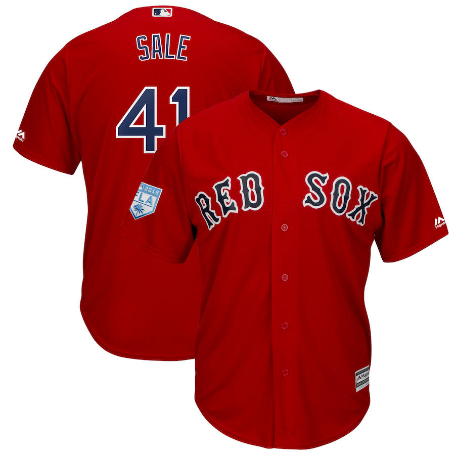 Red Sox 41 Chris Sale Red 2019 Spring Training Cool Base Jersey