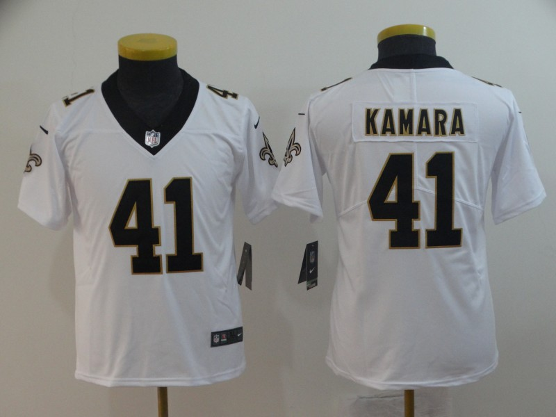 Nike Saints 41 Alvin Kamara White Youth Vapor Untouchable Limited Jersey