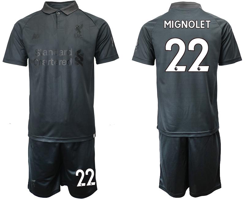 2018-19 Liverpool 22 MIGNOLET Black Goalkeeper Soccer Jersey