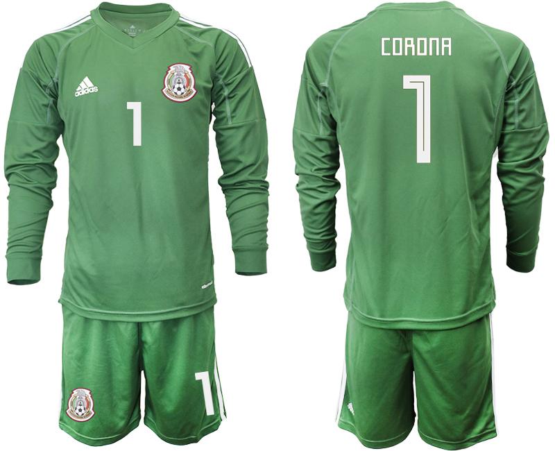 Mexico 1 CORONA Army Green 2018 FIFA World Cup Long Sleeve Goalkeeper Soccer Jersey