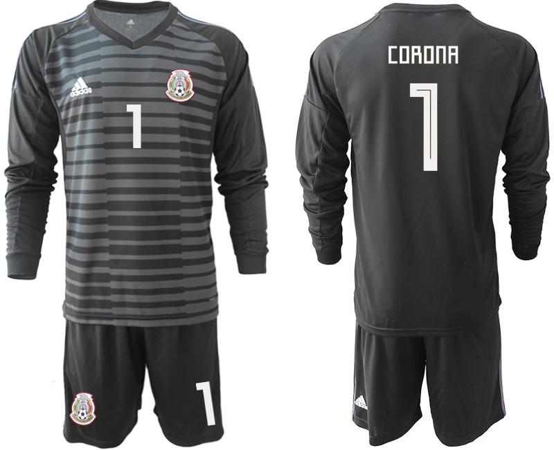 Mexico 1 CORONA Black 2018 FIFA World Cup Long Sleeve Goalkeeper Soccer Jersey