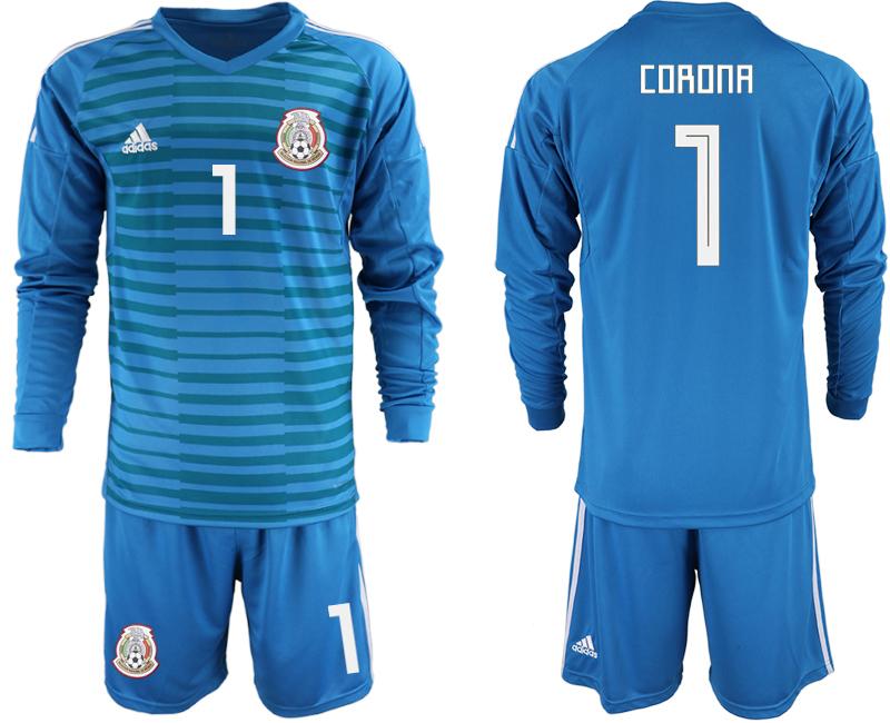 Mexico 1 CORONA Blue 2018 FIFA World Cup Long Sleeve Goalkeeper Soccer Jersey