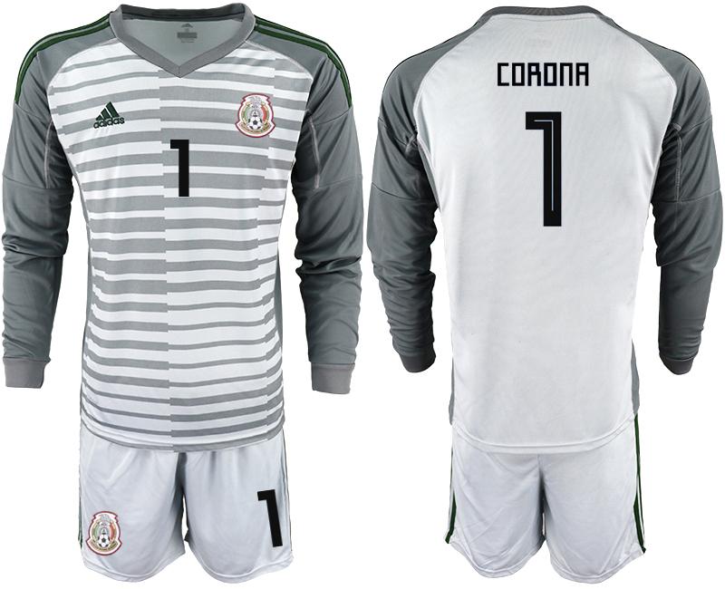 Mexico 1 CORONA Gray 2018 FIFA World Cup Long Sleeve Goalkeeper Soccer Jersey
