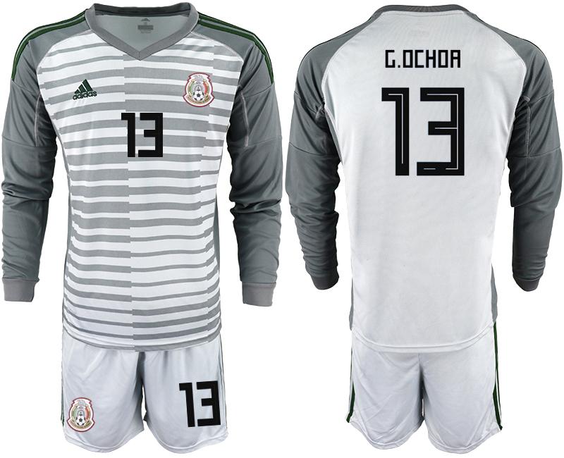 Mexico 13 G.OCHOA Gray 2018 FIFA World Cup Long Sleeve Goalkeeper Soccer Jersey