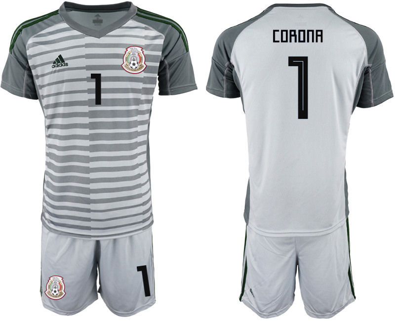 Mexico 1 CORONA Gray 2018 FIFA World Cup Goalkeeper Soccer Jersey