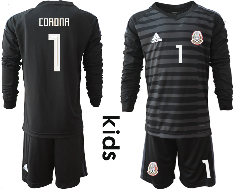 Mexico 1 CORONA Black Youth 2018 FIFA World Cup Long Sleeve Goalkeeper Soccer Jersey