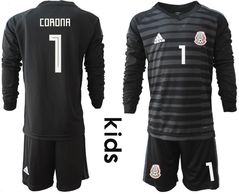 Mexico 1 CORONA Black Youth 2018 FIFA World Cup Long Sleeve Goalkeeper Soccer Jersey