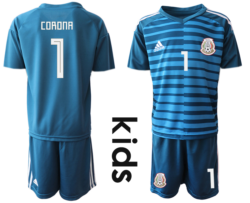 Mexico 1 CORONA Blue Youth 2018 FIFA World Cup Goalkeeper Soccer Jersey