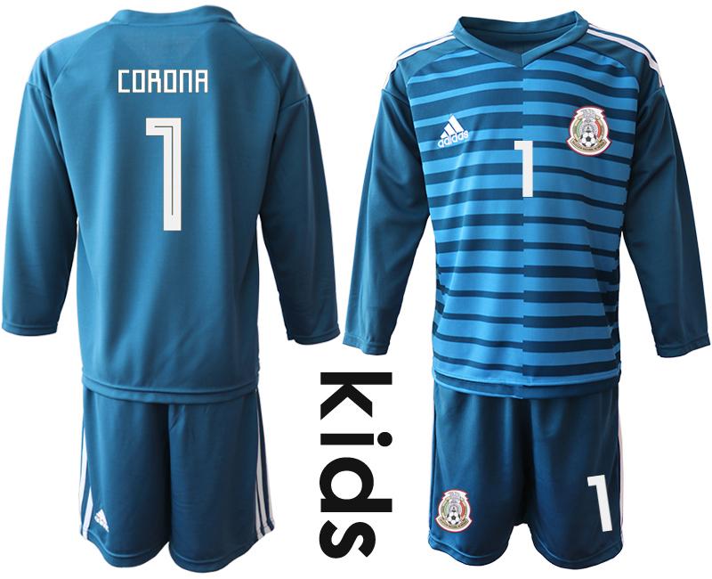 Mexico 1 CORONA Blue Youth 2018 FIFA World Cup Long Sleeve Goalkeeper Soccer Jersey