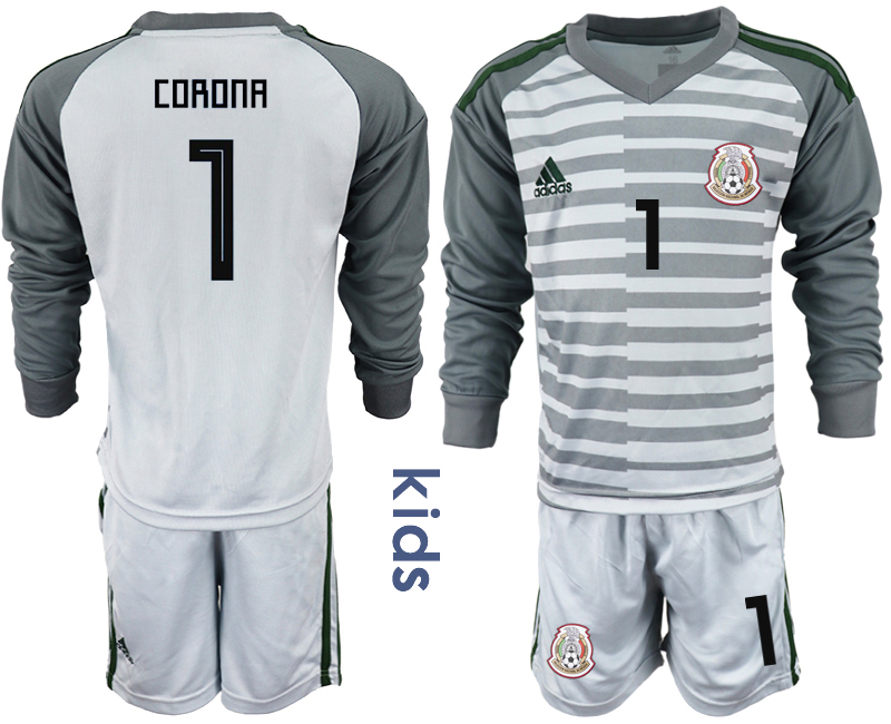 Mexico 1 CORONA Gray Youth 2018 FIFA World Cup Long Sleeve Goalkeeper Soccer Jersey