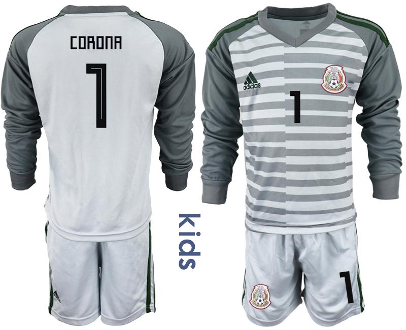 Mexico 1 CORONA Gray Youth 2018 FIFA World Cup Long Sleeve Goalkeeper Soccer Jersey