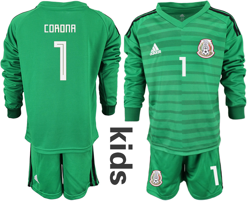 Mexico 1 CORONA Green Youth 2018 FIFA World Cup Long Sleeve Goalkeeper Soccer Jersey