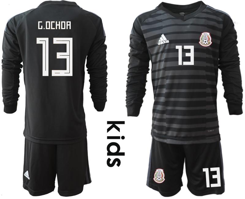 Mexico 13 G.OCHOA Black Youth 2018 FIFA World Cup Long Sleeve Goalkeeper Soccer Jersey