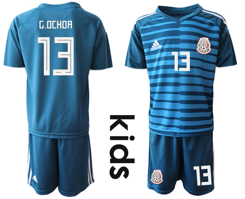 Mexico 13 G.OCHOA Blue Youth 2018 FIFA World Cup Goalkeeper Soccer Jersey