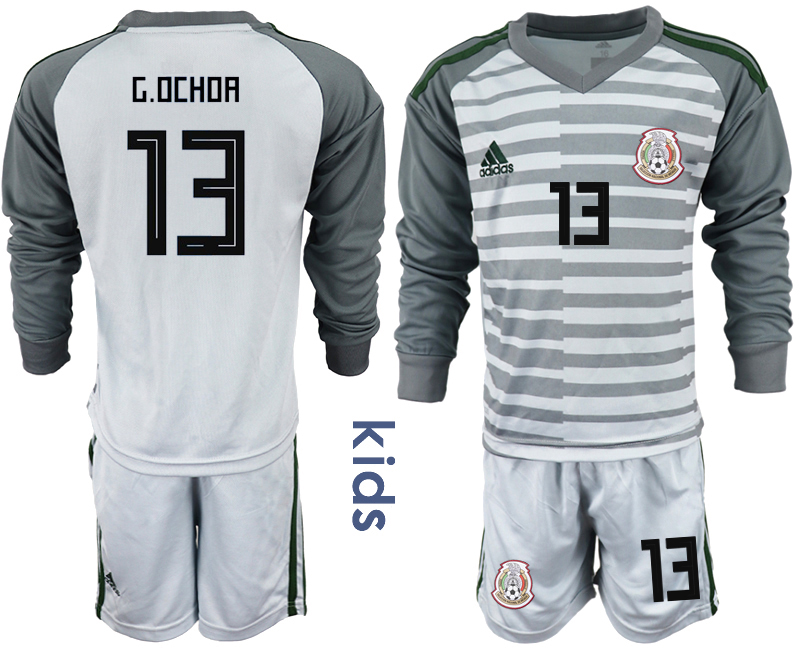 Mexico 13 G.OCHOA Gray Youth 2018 FIFA World Cup Long Sleeve Goalkeeper Soccer Jersey