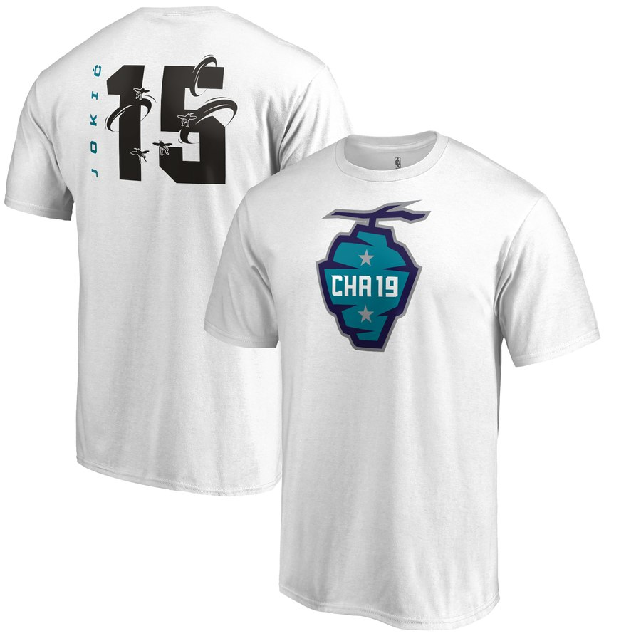 Denver Nuggets 15 Nikola Jokic Fanatics Branded 2019 NBA All-Star Game The Buzz Side Sweep Name & Number T-Shirt White
