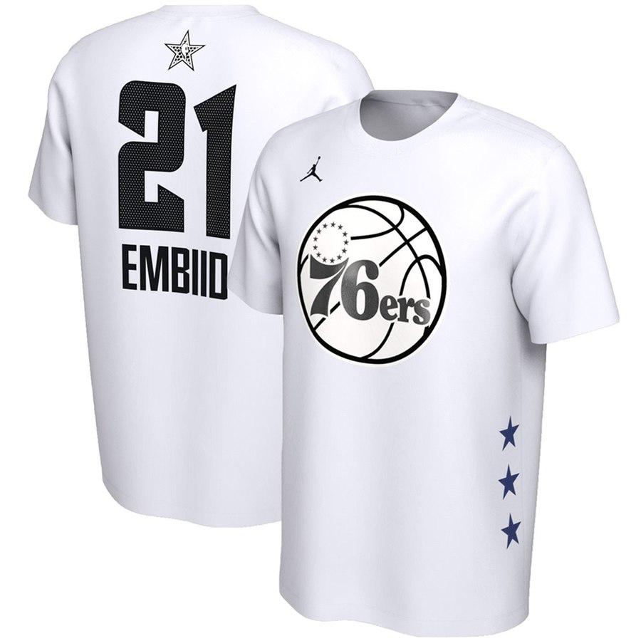 Philadelphia 76ers 21 Joel Embiid Jordan Brand 2019 NBA All-Star Game Name & Number Performance T-Shirt White