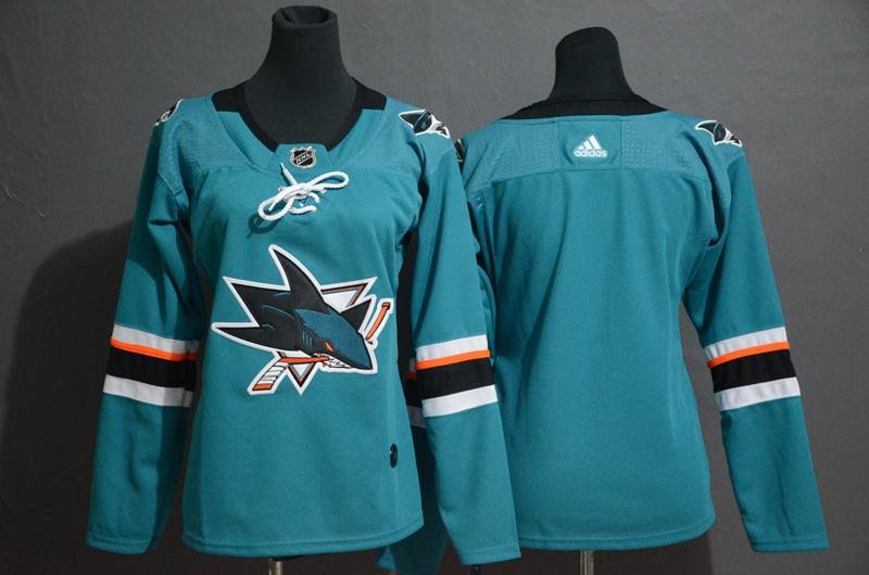 Sharks Blank Teal Women Adidas Jersey