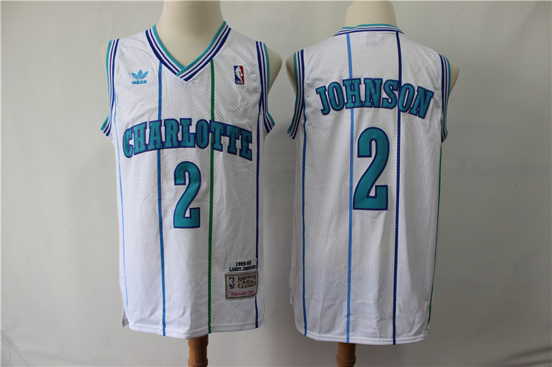 Hornets 2 Larry Johnson White 1992-93 Hardwood Classics Jersey