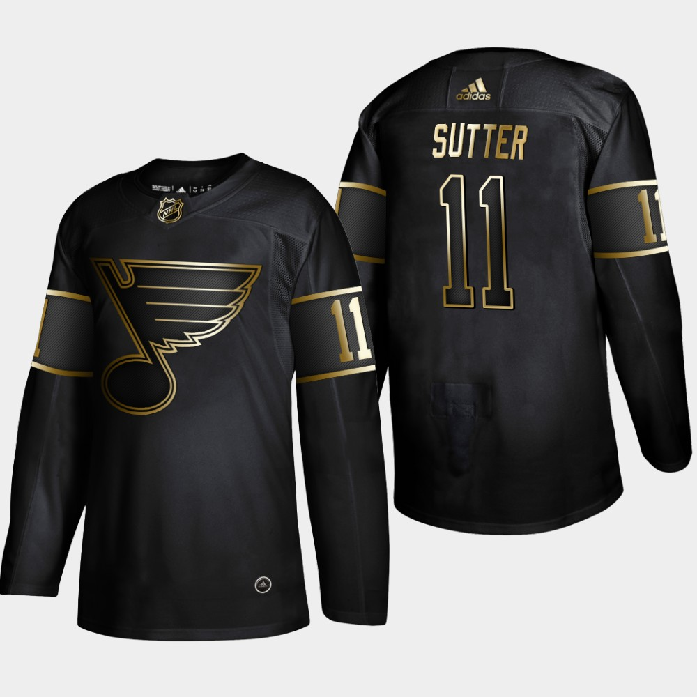 Blues 11 Brian Sutter Black Gold Adidas Jersey