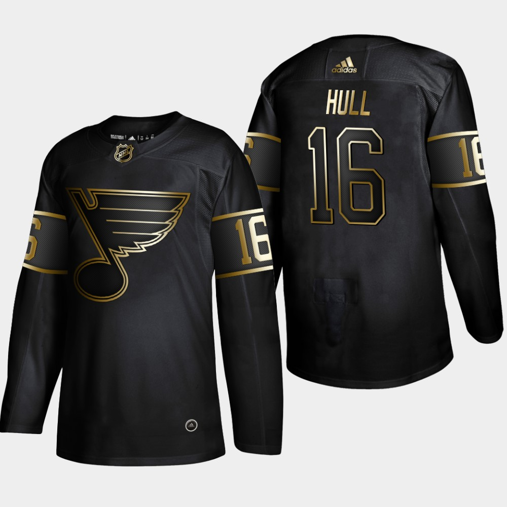 Blues 16 Brett Hull Black Gold Adidas Jersey