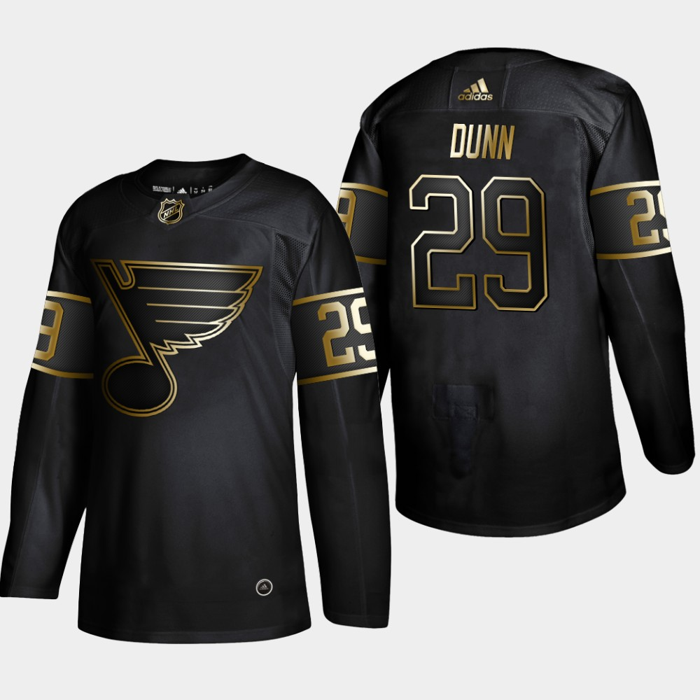 Blues 29 Vince Dunn Black Gold Adidas Jersey