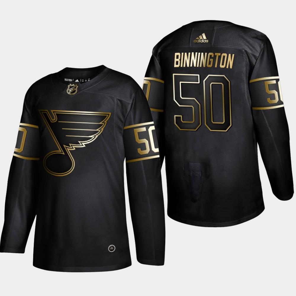 Blues 50 Jordan Binnington Black Gold Adidas Jersey