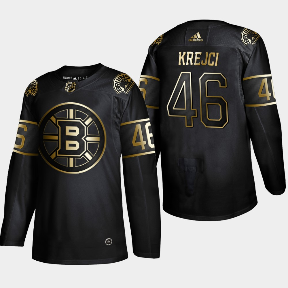 Bruins 46 David Krejci Black Gold Adidas Jersey