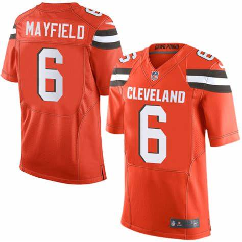 Nike Browns 6 Baker Mayfield Orange 2018 NFL Draft Pick Elite Jersey