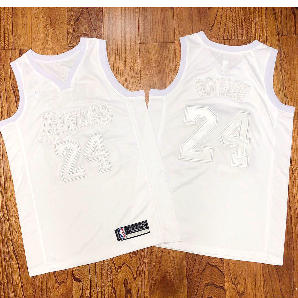 Lakers 24 Kobe Bryant White Nike AF 100 Commemorative Swingman Jersey