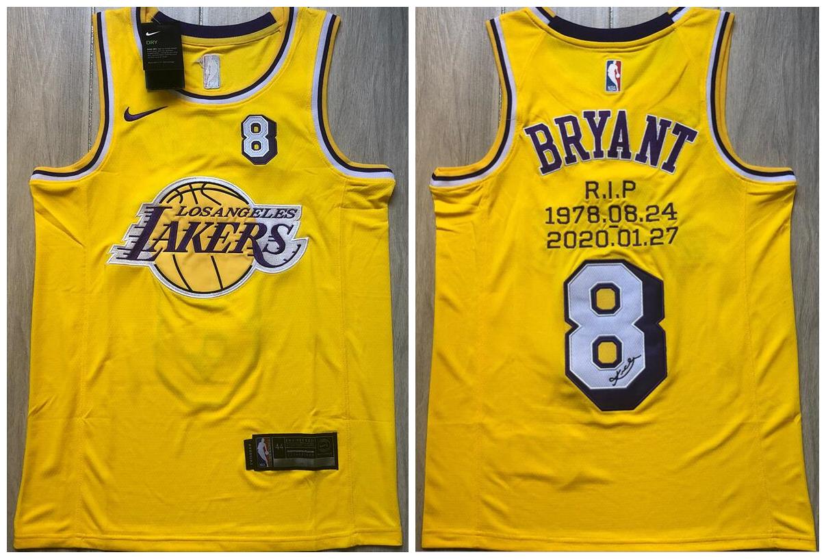 Lakers 8 Kobe Bryant Yellow R.I.P Signature Swingman Jersey
