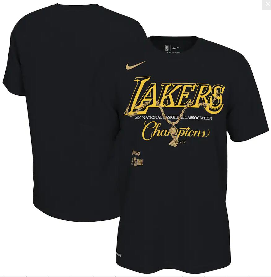 Men's Los Angeles Lakers Nike Black 17 Time NBA Finals Champions Celebration Pendant T-Shirt