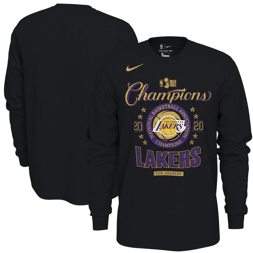 Men's Los Angeles Lakers Nike Black 2020 NBA Finals Champions Locker Room Long Sleeve T-Shirt