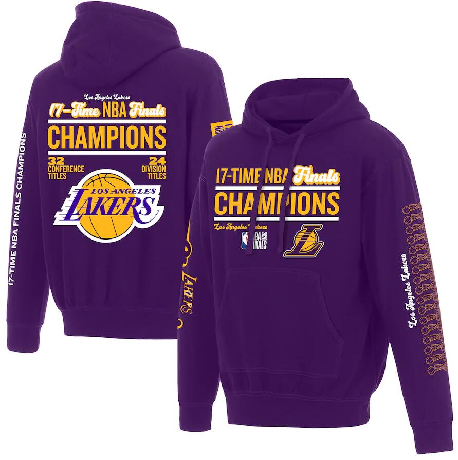 Men's Los Angeles Lakers Purple 17 Time NBA Finals Champions Pullover Hoodie