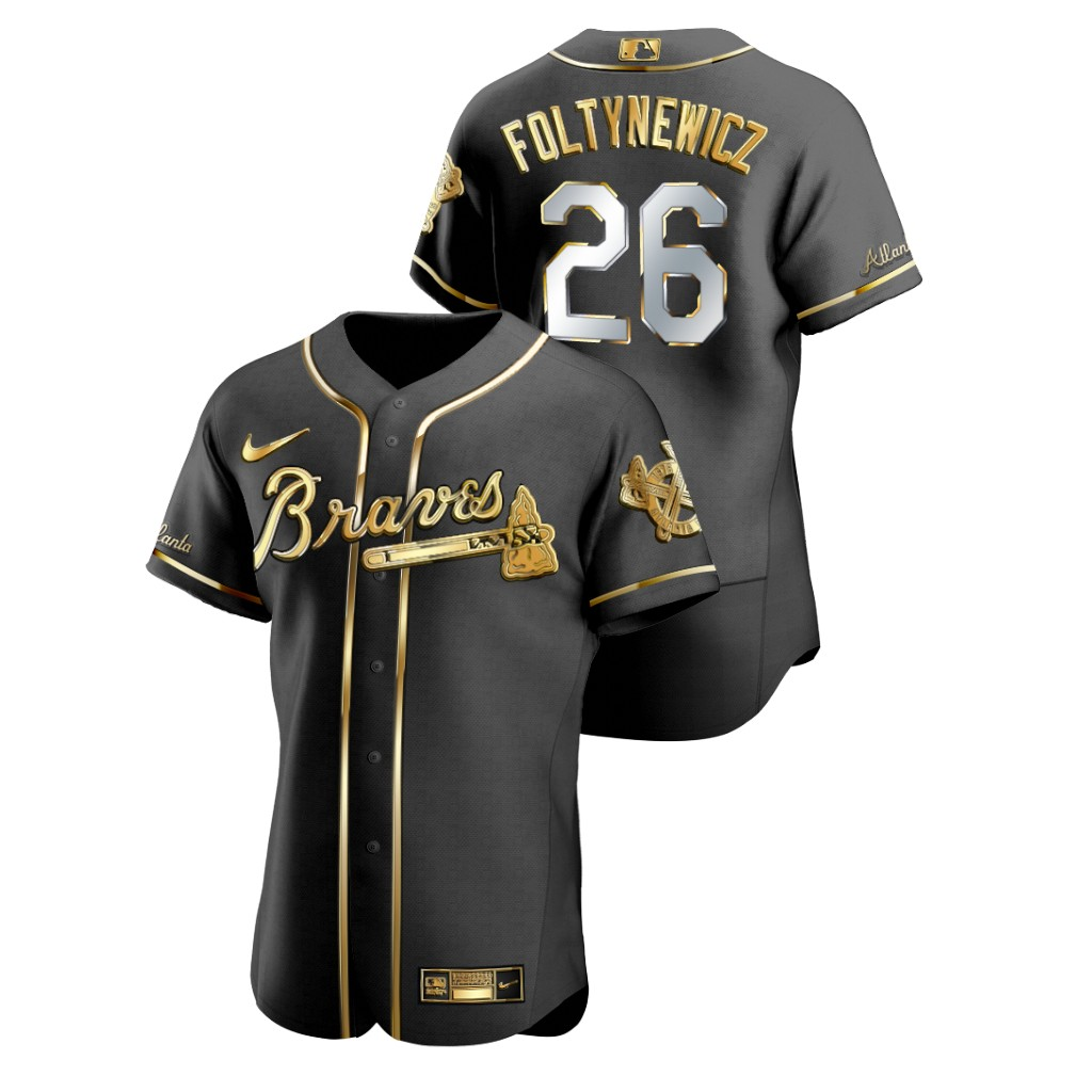 Braves 26 Mike Foltynewicz Black Gold 2020 Nike Flexbase Jersey