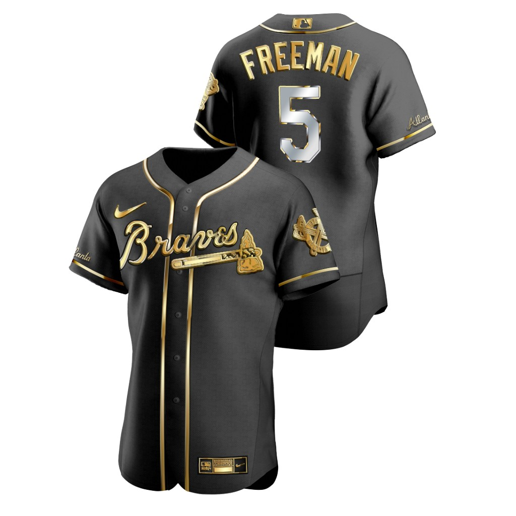 Braves 5 Freddie Freeman Black Gold 2020 Nike Flexbase Jersey