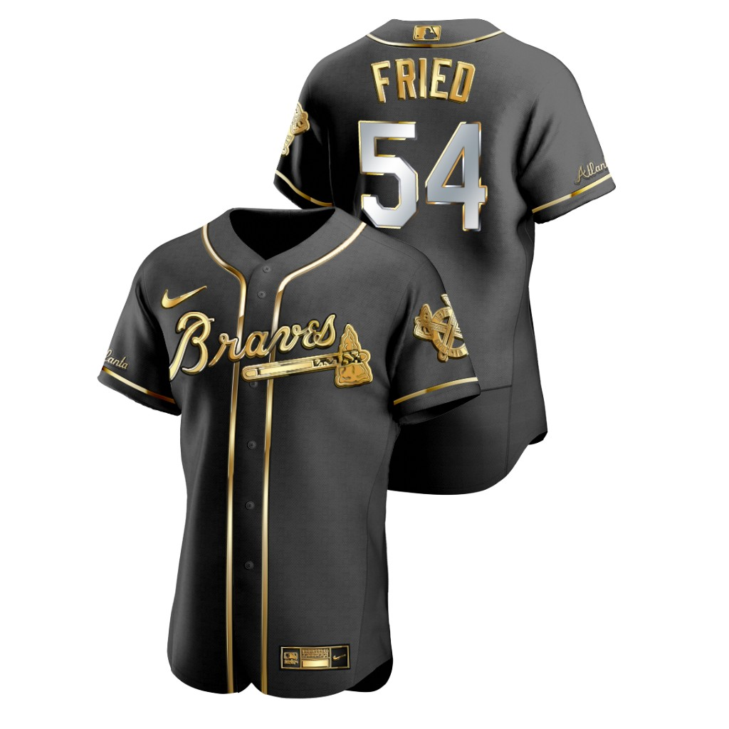 Braves 54 Max Fried Black Gold 2020 Nike Flexbase Jersey