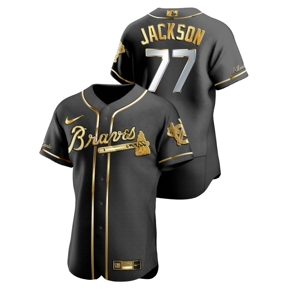 Braves 77 Luke Jackson Black Gold 2020 Nike Flexbase Jersey