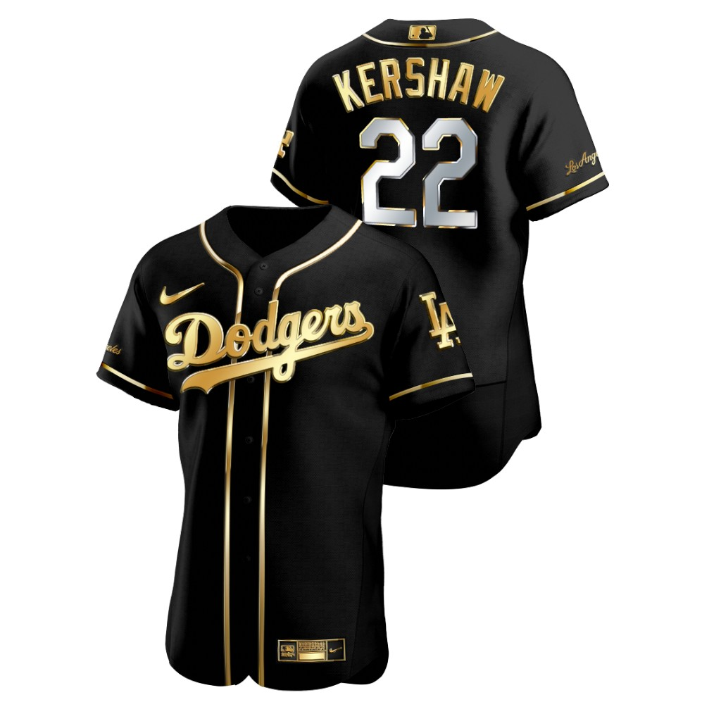 Dodgers 22 Clayton Kershaw Black Gold 2020 Nike Flexbase Jersey