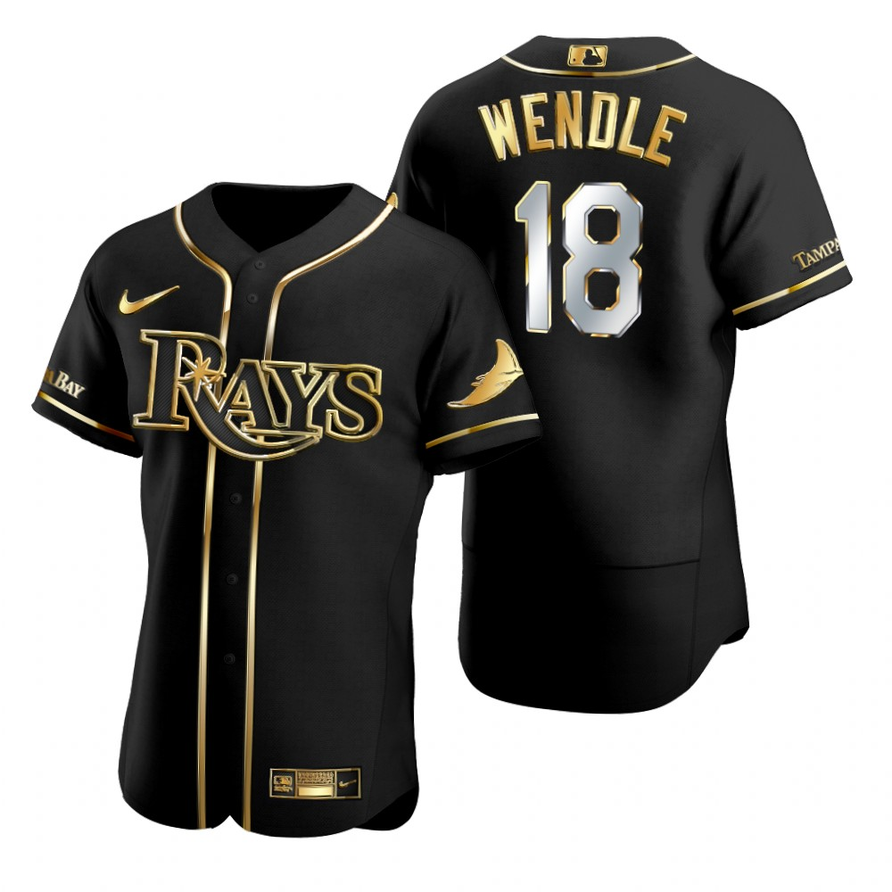 Rays 18 Joey Wendle Black Gold 2020 Nike Flexbase Jersey