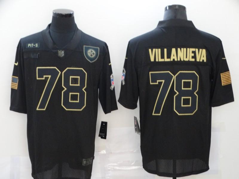 Nike Steelers 78 Alejandro Villanueva Black 2020 Salute To Service Limited Jersey