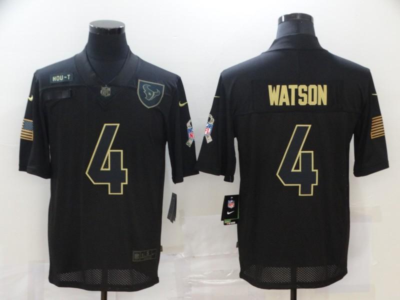 Nike Texans 4 Deshaun Watson Black 2020 Salute To Service Limited Jersey